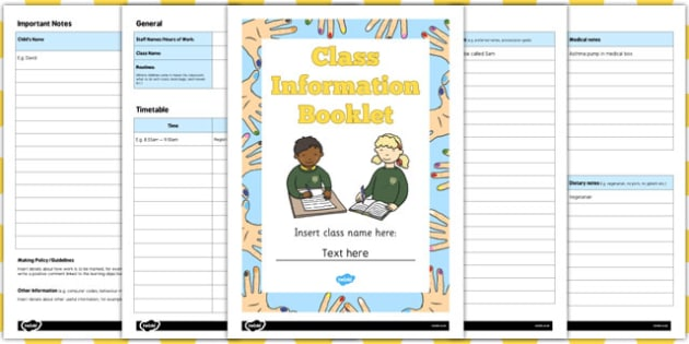 Editable Class Information Booklet - editable, class, information