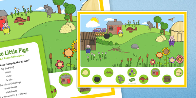 The Three Little Pigs Can you Find...? Poster and Prompt Card Pack