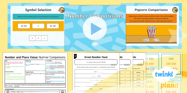 PlanIt Y5 Number and Place Value Lesson Pack Ordering and Comparing (3) - Number, Place Value, order, compare, greater than, less than, treasure hunt, fun maths