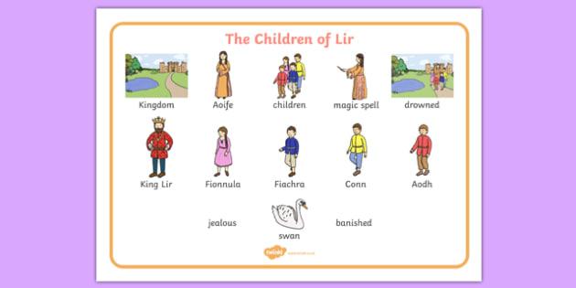 The Children of Lir Word Mat - Irish history, Irish story, Irish myth, Irish legends, The Children Of Lir, vocabulary mat, vocabulary, words