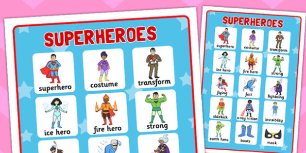 Superhero Vocabulary Mat - superheroes, vocab mat, vocabulary