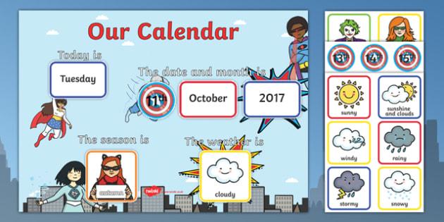 Superhero Display Calendar - fantasy, daily routine, dates, months, time
