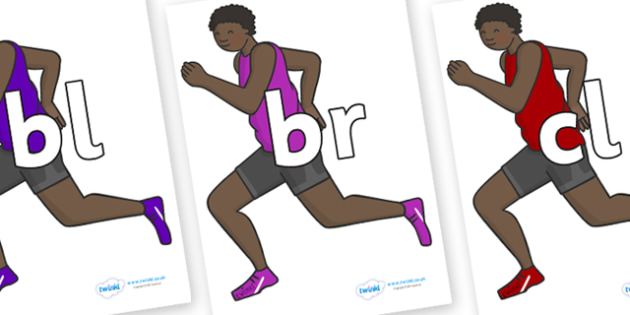 Initial Letter Blends on Runners - Initial Letters, initial letter, letter blend, letter blends, consonant, consonants, digraph, trigraph, literacy, alphabet, letters, foundation stage literacy