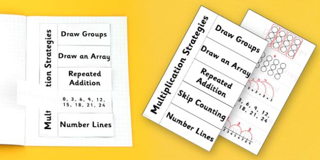 Multiplication Strategies Flapbook - multiplication, flapbook, flap book