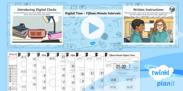 PlanIt Y3 Measurement Lesson Pack Telling the Time (4) - time, measurement, digital clocks, fifteen minute intervals, Tell and write the time from an analogu