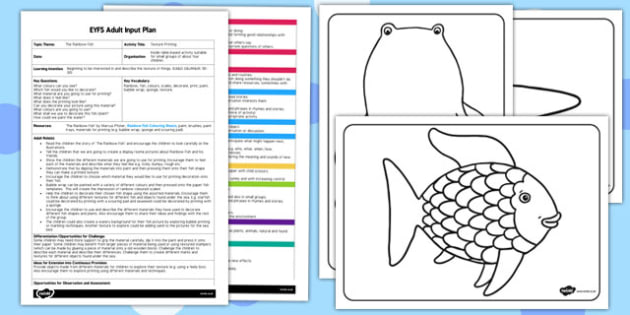 Texture Printing EYFS Adult Input Plan and Resource Pack to Support Teaching on The Rainbow Fish