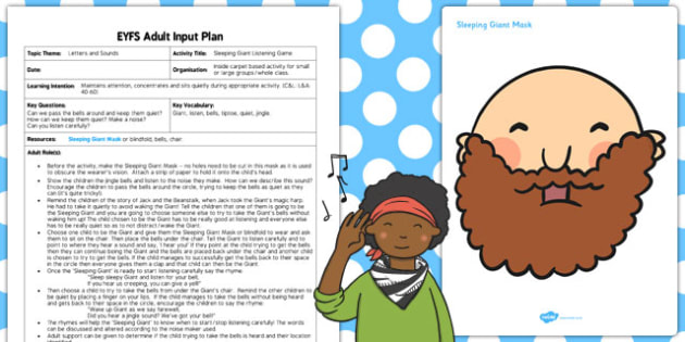 Sleeping Giant Listening Game EYFS Adult Input Plan Resource Pack