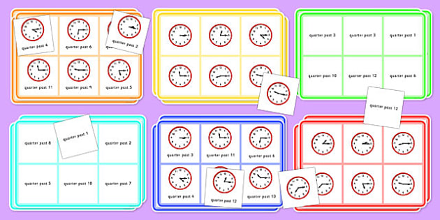 Quarter Past Time Bingo - Time bingo, time game, Time resource, Time vocaulary, clock face, Oclock, half past, quarter past, quarter to, shapes spaces measures
