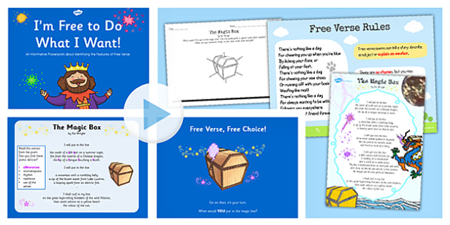 Recognise Different Forms Poetry Free Verse Lesson Teaching Pack