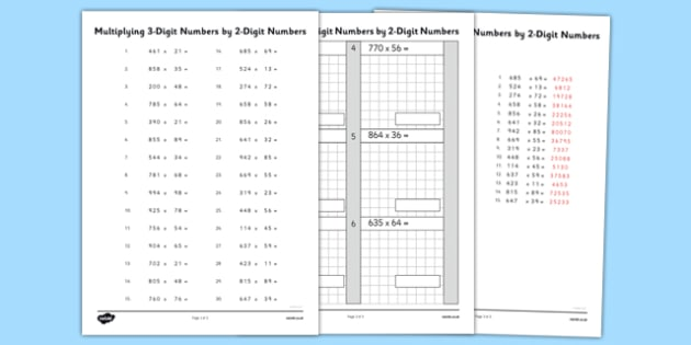 Multiplying 3 Digit Numbers by 2 Digit Numbers Activity Sheet - multiplying, numbers, activity, sheet, maths, numeracy, 2 digit, worksheet