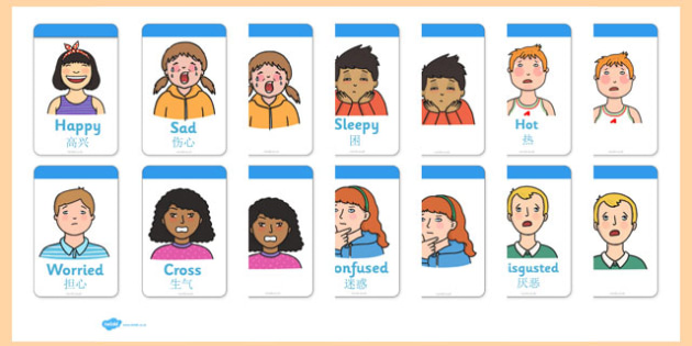 Ourselves Flashcards Mandarin Chinese Translation - mandarin chinese, Emotions, Feelings, All about me, ourselves, feelings display, feelings banner, emotions display, expression, happy, sad, angry, scared
