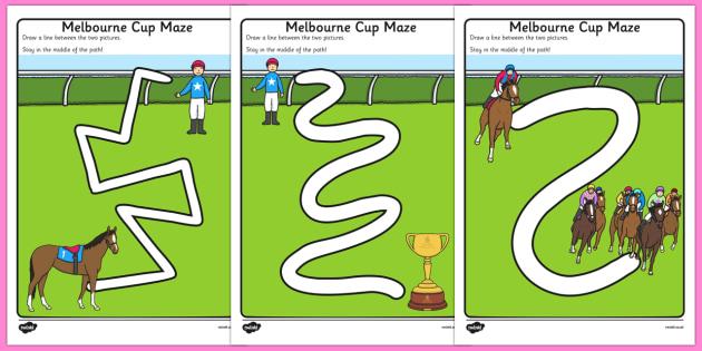 Melbourne Cup Pencil Control Path Worksheets - australia, melbourne cup, pencil control