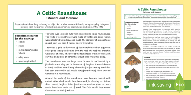 A Celtic Roundhouse Estimate and Measure Activity-Scottish - CfE, Celts, Celtic, people in past societies, history, estimate, measure, diameter, numeracy, circle