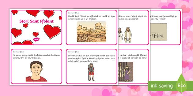 Cardiau Trefnu Stori Sant Ffolant - WLW Dydd San Ffolant (St Valentine's Day 14.2.17), cardiau stori, stori sant ffolant,cardiau trefnu