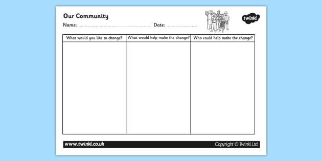Making Changes Happen in the Community Writing Frame - community, making changes happen, our community worksheet, changes in the community worksheet, ks2