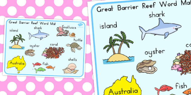 Great Barrier Reef Word Mat - australia, word mat, word, mat