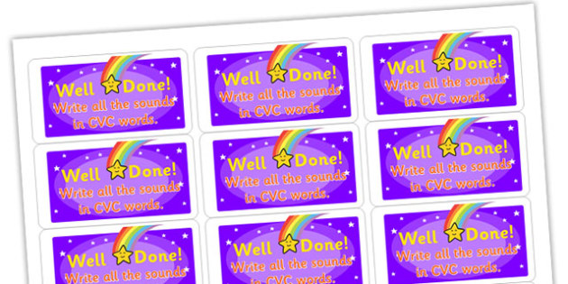 Write all the Sounds in CVC Words Stickers - stickers, printable stickers, marking stickers, work marking stickers, write all the sounds in CVC words