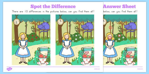Alice in Wonderland Spot the Difference - australia, alice in wonderland