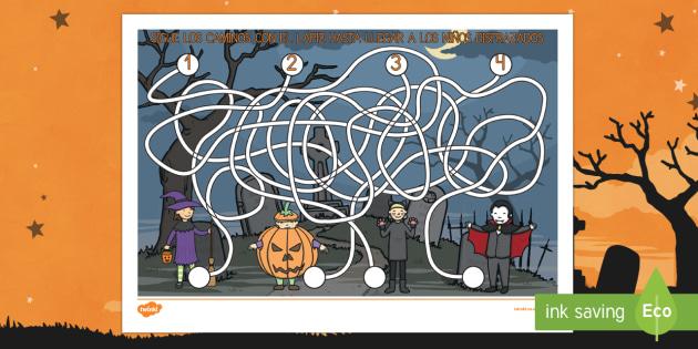 Halloween Laberinto de control de lapiz