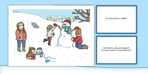 Karty z pytaniami Bałwan po polsku - zima, pory roku