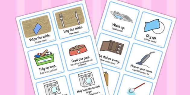 SEN Communication Cards Household Chores Romanian Translation - romanian