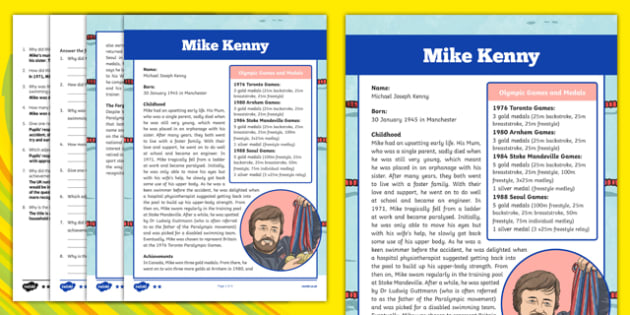 Great British Paralympians: Mike Kenny Differentiated Reading Comprehension Activity