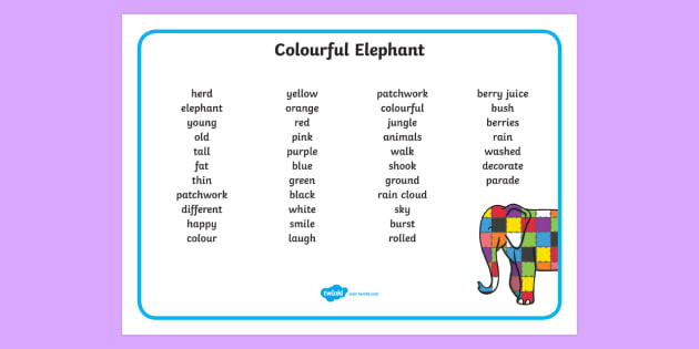 Colourful Elephant Word Mat (Text) - Elmer, Elmer the elephant, resources, Elmer story, patchwork elephant, PSHE, PSE, David McKee, colours, patterns, story, story book, story book resources, story sequencing, story resources, word mat, wri