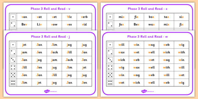 Phase 3 Letter Progression Set6 j v w x Phoneme Roll and Read Mat