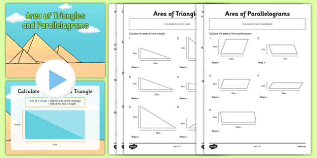 Area of Triangles and Parallelograms PowerPoint and Activity Sheets Pack - area, triangles, parallelograms, powerpoint, activity, worksheet