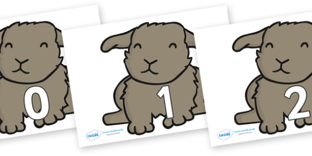 Numbers 0-100 on Rabbits - 0-100, foundation stage numeracy, Number recognition, Number flashcards, counting, number frieze, Display numbers, number posters