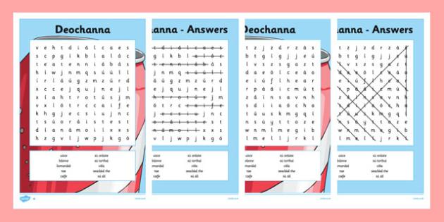 Bia Word Search Deochanna - irish, gaeilge, bia, food, word search, activity, food types, vocabulary