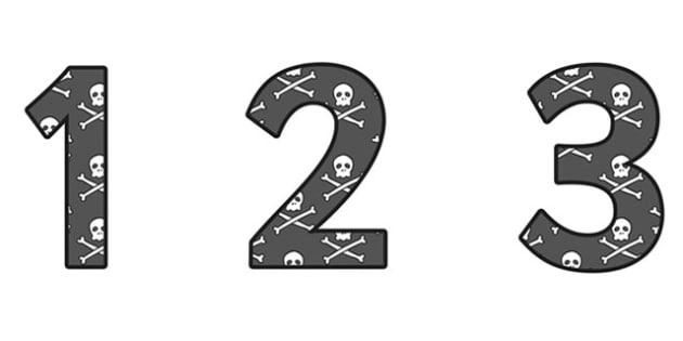 Pirate Skull and Cross Bones Display Numbers (Small)- pirates, pirate display numbers, pirate numbers, skull and cross bones numbers, pirate disply numbers
