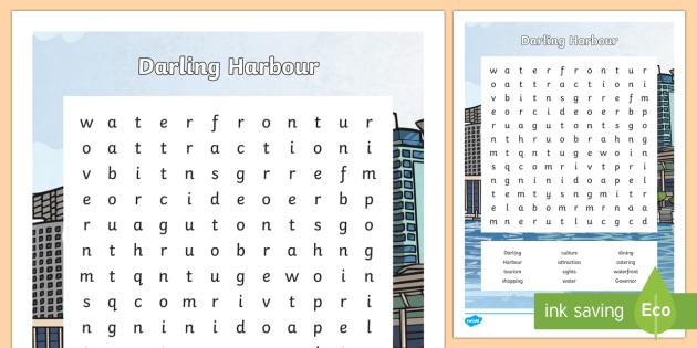 Darling Harbour Word Search-Australia - Sydney Australia, darling harbour, word search, find a word, activity, fun, spelling, vocabulary, fu