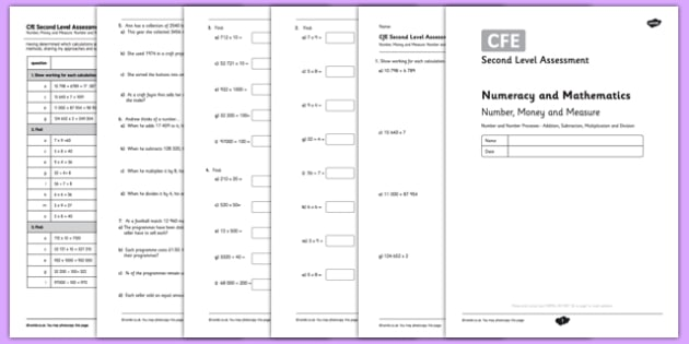 Second Level Assessment Numeracy and Mathematics Number, Money and Measure - Addition, Subtraction and Division - CfE, assessment, problems