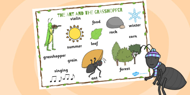 The Ant and the Grasshopper Word Mat - visual aid, key words
