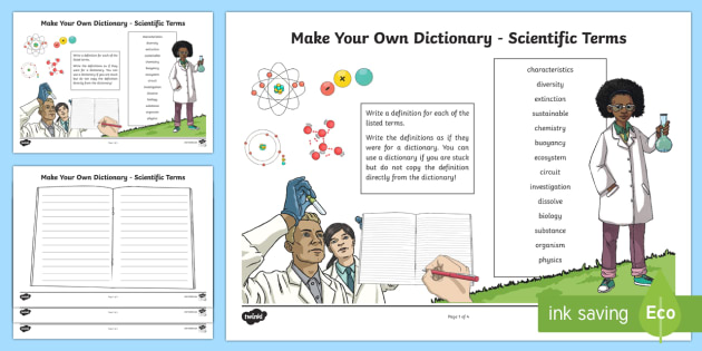 Create Your Own Dictionary Scientific Terms Activity Sheet - CfE Literacy, CfE Science, science, dictionary, vocabulary, scientific, alphabetical ordering, ,Scot