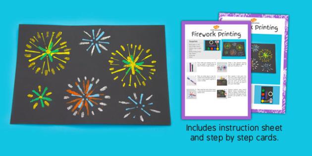 Firework Printing Craft Instructions - firework, printing, craft, instructions, early years