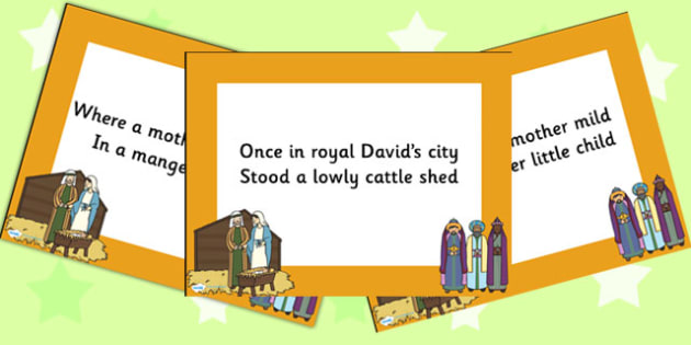 Once in Royal Davids City Lyrics PowerPoint - christmas, lyrics
