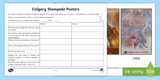 Calgary Stampede Posters Writing Activity Sheet - Calgary Stampede Resources, Writing, Language, Poster, Media Literacy, Art.