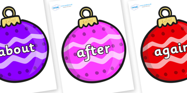 KS1 Keywords on Patterned Baubles (Multicolour) - KS1, CLL, Communication language and literacy, Display, Key words, high frequency words, foundation stage literacy, DfES Letters and Sounds, Letters and Sounds, spelling