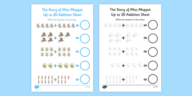 Beatrix Potter - The Story of Miss Moppet Up to 20 Addition Sheet - beatrix potter, story, story book, tale, miss moppet, 20, addition, maths, numeracy
