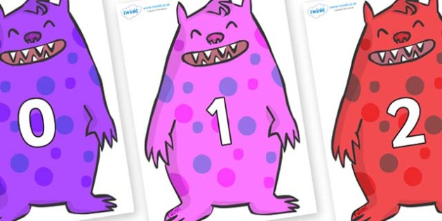 Numbers 0-100 on Monsters - 0-100, foundation stage numeracy, Number recognition, Number flashcards, counting, number frieze, Display numbers, number posters