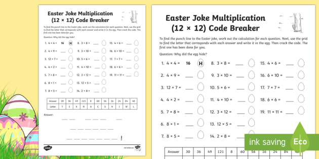 Easter Joke Multiplication (Up to 12 x 12) Code Breaker Activity Sheet - NI, Easter, joke, code, breaking, times tables, multiplication, quick  recall, numeracy,multplicatio
