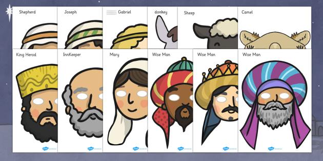 Nativity Role Play Masks - Nativity, Role Play Mask, Christmas Story, xmas, Visual Aids, Mary, Joseph, Jesus, shepherd, wise men, Herod, angel, donkey, stable, Gabriel, First Christmas,Inn, Star, God