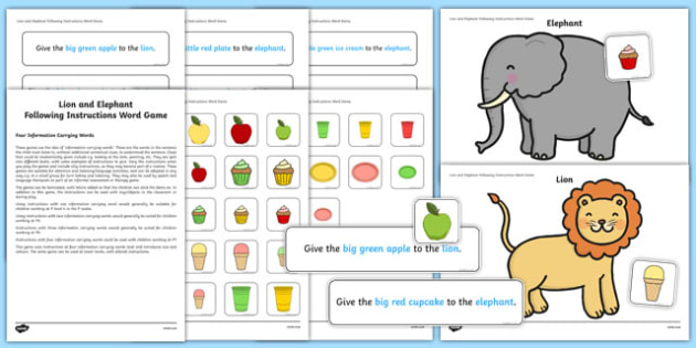 Lion and Elephant Following Instructions – 4 ICWs Game
