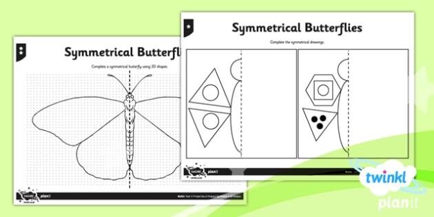 PlanIt Y4 Properties of Shapes Symmetrical Butterflies Home Learning - Properties of Shapes, symmetry, 2D shapes