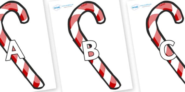 A-Z Alphabet on Candy Canes (Plain) - A-Z, A4, display, Alphabet frieze, Display letters, Letter posters, A-Z letters, Alphabet flashcards