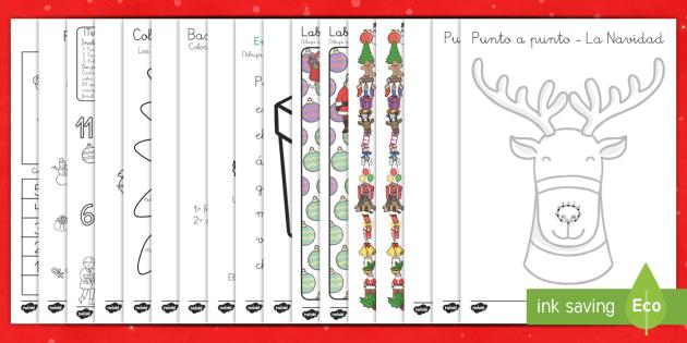 Cuadernillo: Actividades relacionadas con la Navidad  - trabajo independiente, colorear,pintar, números, fichas navideñas, fichas de navidad, Spanish