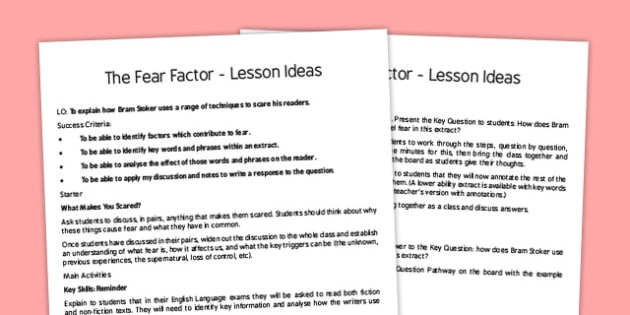 The Fear Factor Lesson Ideas - fear factor, fear, factor, lesson ideas, lesson, ideas