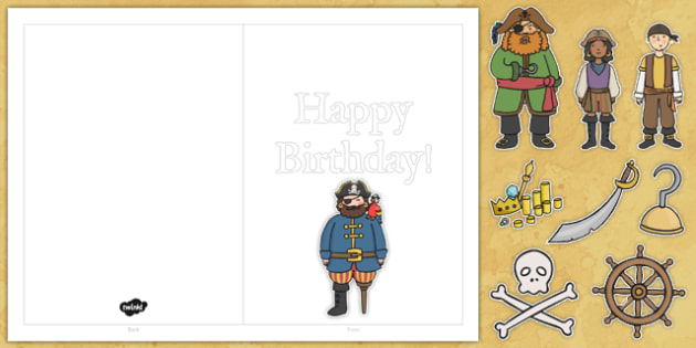 Design Your Own Pirate Themed Birthday Cards - pirate, cards